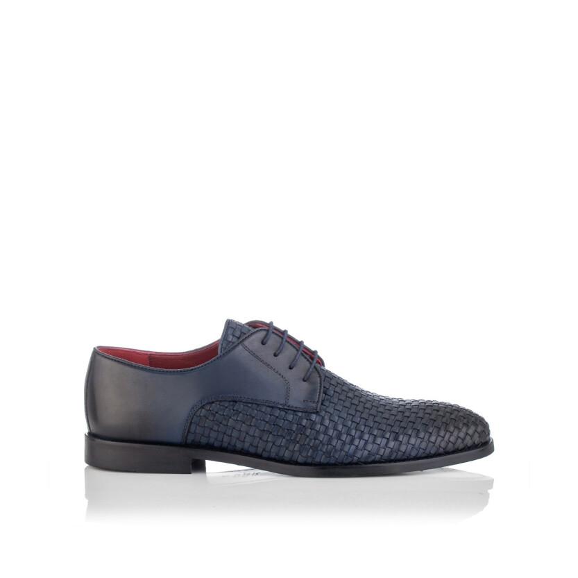 Chaussures Derby en Cuir Tissé pour Hommes Angelo Bleu