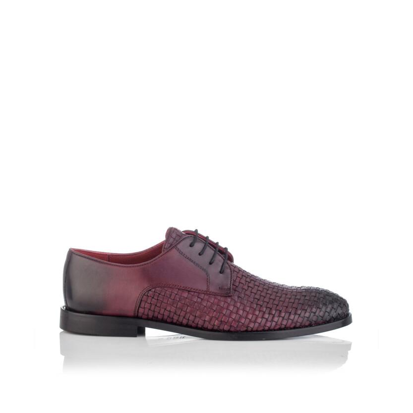 Chaussures Derby en Cuir Tissé pour Hommes Angelo Bordeaux