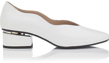 Chaussures à embout carré et talon bloqué Carina Cuir verni Blanc