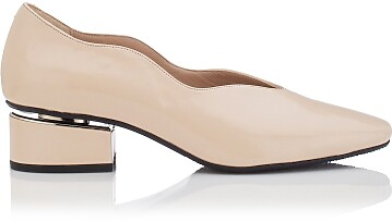 Chaussures à embout carré et talon bloqué Carina Cuir verni Beige
