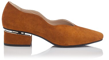 Chaussures à embout carré et talon bloqué Carina Daim Taba