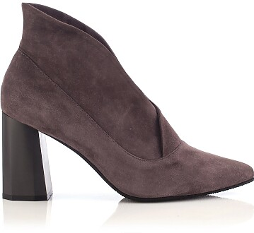 Block Heel Pointed Toe Ankle Boots Bella Suede Taupe