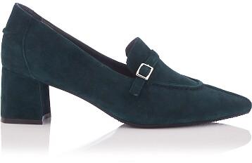 Chaussures pointues à talon large Grazia Daim Vert Foncé