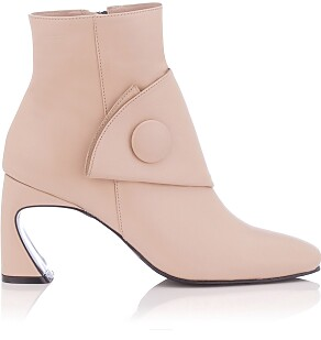 Sculpted Heel Ankle Boots Ligia Suede Beige