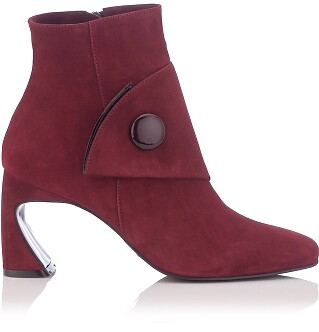 Sculpted Heel Ankle Boots Ligia Suede Burgundy