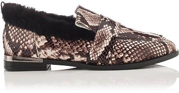 Chaussures à Enfiler Giorgia Serpent en cuir estampé - Beige