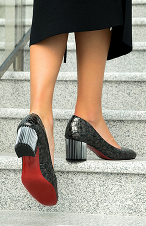 Party heels with silver block heel