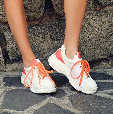 Neon Orange Platform Sneakers