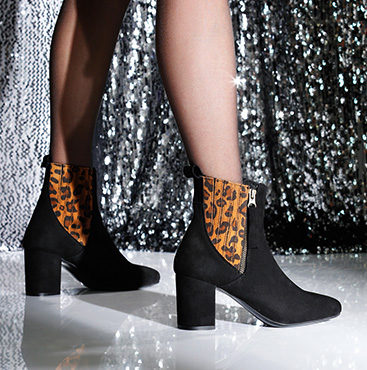 Black and leopard ankle boots