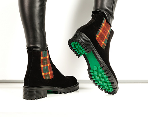 Green sole ankle boots