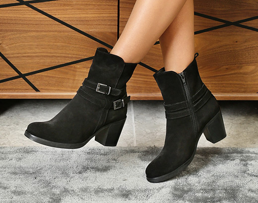 Heeled black ankle boots