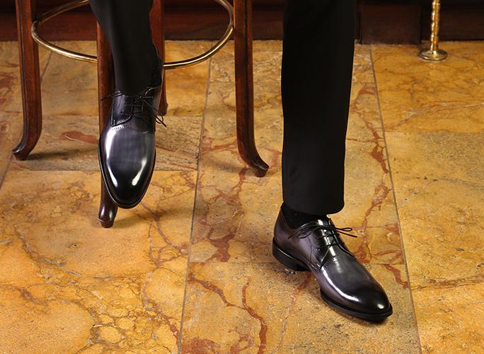 Gray luxury shoes