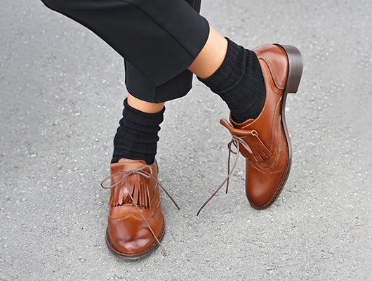 Brown Oxford Shoes with fringe